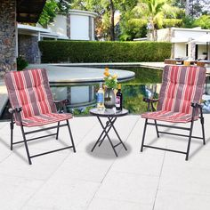 Costway Patio 3 Pcs Outdoor Folding Chairs Table Set Furniture Garden With Cushions * Check out the image by visiting the link.
