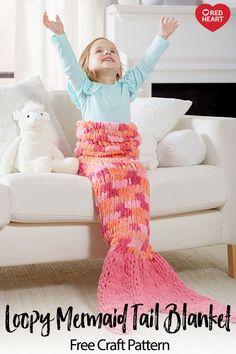 Loopy Mermaid Tail Blanket free craft pattern in Loop-It yarn. Loopy Mermaid Tail Blanket free craft pattern in Loop-It yarn. Let your imagination run wild! Crochet Mermaid Tail Pattern, Mermaid Tail Blanket Pattern, Crochet Mermaid Blanket, Mermaid Blankets, Finger Knitting Blankets, Crochet Blankets, Loom Knitting Blanket, Arm Knitting, Crochet Afghans