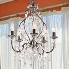 How to add crystals to a chandelier pinterest chandeliers bethany 5 light iron and crystal candle chandelier 5 light crystal candle aloadofball Choice Image