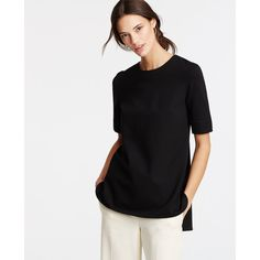 Ann Taylor Structured Ponte Tunic (7000 RSD) ❤ liked on Polyvore featuring tops, tunics, black, ann taylor tops, short sleeve tunic, wet look top, ponte top and ann taylor