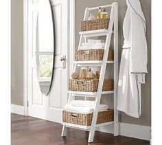 "Ainsley Ladder Floor Storage with Baskets - Ladder: 18"" w x 17.5"" d x 58"" h Small Basket: 14.5"" w x 7.25"" d x 5"" h Medium Basket: 14.5"" w x 10.75"" d x 5"" h Large Basket : 14.5"" w x 14"" d x 5"" h X-Large Basket : 14.5"" w x 17.5"" d x 5"" h Ladder crafted of pine."