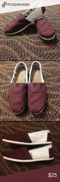 TOMS maroon and white classics TOMS maroon and white classics. Worn once - selling because I never wear them. TOMS Shoes Flats & Loafers