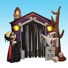 "8.5 Foot Halloween Inflatable Haunted House Castle with Skeleton, Ghost  Skulls by BZB Goods. $179.00. Inflated Size Measures: 83"" x 83"" x 106"" (Length x width x height). Deflates Back Down for Easy Storage. Self Inflates in Moment, Lights Up for Better Nighttime Viewing. Great for Indoor and Outdoor; Easy Set Up. Everthing Included: Inflator Fan, Ground Stakes and Tethers. 200058 Halloween inflatable is sure to bring delight to children and adults alike. Don't..."