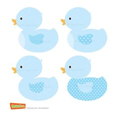 Digital Clipart Clip Art Ducklings Blue Baby Nursery Ducks Boy Party Theme DIY Baby Shower Invitations for Commercial Personal Use 10065