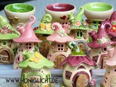 Elfenhäuschen Windlichter aus Keramik ceramic fairy houses for the fairygarden