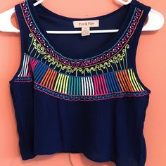 Colorful print crop top Dark navy blue crop top with colorful print. Only worn once. Excellent condition. Fun & Flirt Tops Crop Tops