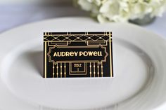 Art Deco Gatsby Place Cards Wedding Custom Customize Escort Seating Cards Simple Elegant Guest Names 20's Inspired
