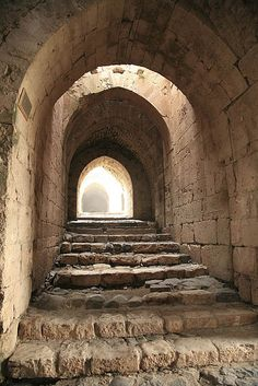 Krak de Chevaliers Crusader castle, Syria. Passageways within the castle were designed so that horses could be moved easily.