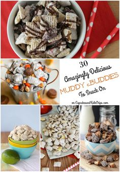 30 Amazingly Delicious Muddy Buddies To Snack On - the most creative Puppy Chow recipes you'll find anywhere! | cupcakesandkalechips.com