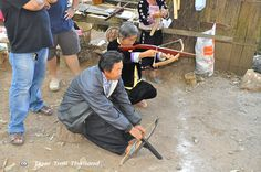 Hmong tribesmen at Mon Cham can teach you how to shoot the crossbow. You will be surprised at the lethalness of this weapon! Crossbow, Chiang Mai, Trekking, Weapon, Thailand, Tours, Teaching, Weapons, Education