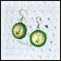 Kolczyki haft koralikowy Biżuteria artystyczna, szycie i szydełkowanie