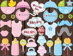 Instant Download: BABY SHOWER Photo booth Props PRINTABLE - Baby Beanie, Dummies/Pacifiers, Bibs and more 0187