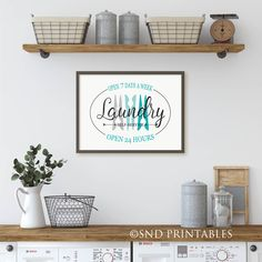 Excited to share the latest addition to my #etsy shop: Self Service Laundry Room Wall Art Printable File - Open 7 days a week Instant Download - Gift for Mom - Laundry Room Art - Laundry Sign Kitchen Art, Kitchen Decor, Farmhouse Style Decorating, Decorating Your Home, Farmhouse Wall Art, Farmhouse Laundry Room, Kitchen Posters, Girls Bedroom, Bedroom Decor