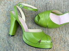More green Remix-es...the Veronica 40s platform peeptoe comes in bright grassy green.