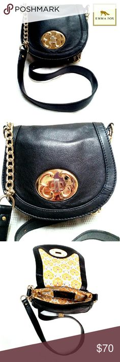 "GORGEOUS EMMA FOX BLACK FLAP CROSSBODY BAG EMMA FOX SOFT BLACK CROSSBODY W/GOLD CHAIN STRAP Pre-Loved  This is a Gorgeous Crossbody with Partial Hold Chain & Black Leather Strap. Has Front Flap w/Gold Turnkey Closure. Minimum Scratches on Knob.  1 Interior Compartment Divided By Another. Back Slip Compartment w/Fox Emblem Gold Accents Just a Gorgeous Show Stopper! Approx Meas;    *   H   7""    *   L   8""    *   Strap Drop   23"" Please See All Pics. Ask ? If Needed Emma Fox Bags Crossbody…"