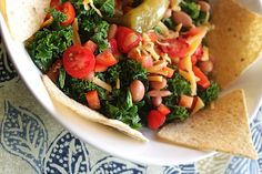 5-Minute Vegetarian Kale Taco Salad from the ladies over at Food Heaven Made Easy
