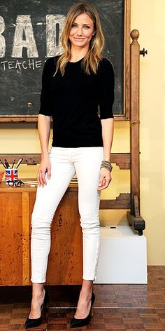 I have white skinny jeans - great for work or a night out with the girls.