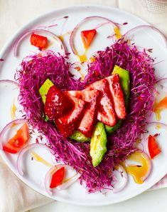 Strawberries + Avocado: Vegan Pink Heart Salad. #ValentinesDay
