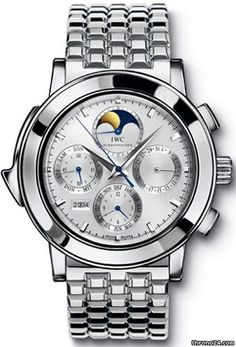IWC Grande Complication Silver Dial Chronograph Platinum Mens Watch IW927016 $260,760  Platinum case with a platinum bracelet. Fixed bezel. Silver dial with silver-toned hands and index hour markers.