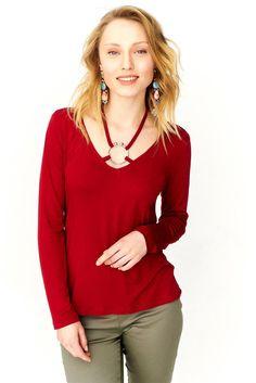 1f6505adc16e1 Yakası Aksesuar Detaylı Bordo Bluz - Online Alışveriş Mağazası I Esmur.com  #esmur #