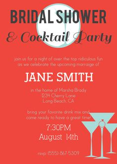 cocktail party bridal shower invitation with customizable colors cocktail party invitation bridal shower invitations