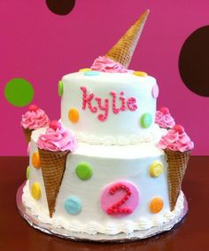 Ice cream cone birthday cake - A Birthday Cake Any 2 Year Old Would Love- Colorful, Sweet, and FUN!