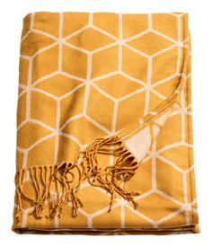 Jacquard-weave Throw | Mustard yellow | Home | H&M US