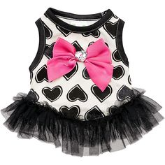 Petco Wag-a-tude Black Hearts Dog Dress