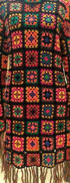 Vestido Crochê Adulto squares no Elo7 | Bem_Me_Quer Crochê (AAB8ED) Friendship Bracelets, Crochet, Fashion, Maxi Dresses, Made By Hands, Colors, Outfits, Moda