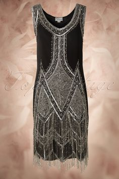 Unique Vintage - 20s Deluxe Flapper Dress in Black and Silver