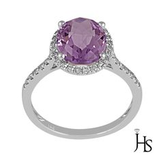 Women's 14K White Gold 3.00 Cts Round Diamond & Natural Pink Amethyst Halo Ring #WomensGemStoneRingJewelryHotspot