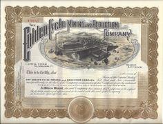 THE GOLDEN CYCLE MINING AND REDUCTION COMPANY....UNISSUED STOCK CERTIFICATE