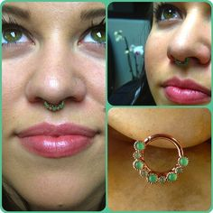 ashmisako:  This delicious rose gold septum ring with chrysoprase was chosen by Abbie S. To compliment her beautiful features. (at Kira Kira Fine Jewelry and Body Piercing)