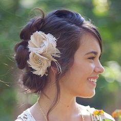 Bridal Hair Accessory, Blush Pink,  Fascinator, Wedding Head Piece, Bridal Hair Flower, Hair Clip, Bridal Fascinator