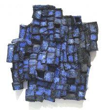 "Elisa D'Arrigo: Recollection...dusk(2) 2008 cloth, paper, acrylic paint, thread 16""x 14""x 4"""