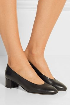 Mansur Gavriel ballerina pump--Heel measures approximately 40mm/ 1.5 inches Black leather Slip on Made in Italy