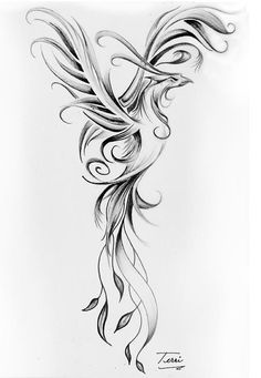 Black And Grey Phoenix Tattoo Design #sternum_tattoo_animal