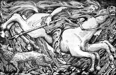 William Gershom Collingwood Odin rides to Hel, Illustration for 'The Elder or Poetic Edda', Edited and translated by Olive Bray, 1908 Loki, Icelandic Runes, Icelandic Horse, Behold A Pale Horse, A State Of Trance, Old Norse, Viking Art, Viking Symbols, Norse Vikings