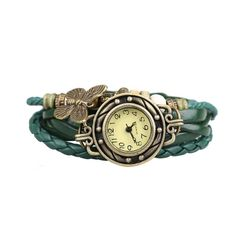 New Collection Vintage Retro Braided Bracelet and Faux Leather Wrist Watch Women