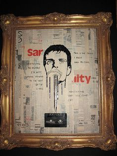 "Ghost in the Machine: Ian Curtis (late singer of Joy Division) out of cassette with passover lyrics ""This is the crisis I knew had to come, destroying the balance I'd kept. Turning around to the next set of lives, wondering what will come next..."" The newspaper collage in the background was from a paper dating from the year Joy Division was formed."