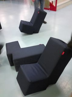 """""""A Behind the Scenes Tour of German Public Libraries"""" Image: Cologne City Library. L-shaped low chairs made of soft foam that let you lean back to read. Can also tip chair over sideways to make an L-shaped table or bench. City Library, Local Library, Heinrich Böll, Low Chair, Public Libraries, Library Images, Cologne, Behind The Scenes, Germany"""