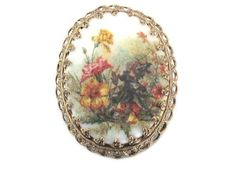 Vintage Cameo Brooch Pin 1960's Flower Cameo от ThirstyOwlVintage