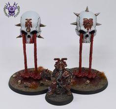 Judgements of Khorne: The Hexgorger Skulls #ChaoticColors #paintingminiatures #wargaming #Miniaturepainting #Tabletopgames #Scalemodel #Miniatures #art #creative #hobby #dungeonsanddragons #dnd #frostgrave #rpg #roleplay #paintingwarhammer  #ageofsigmar #whfb #fantasy #warhammerfantasy #Kingsofwar #kow #kingsofwarvanguard #khorne #JudgementsofKhorne #HexgorgerSkulls Warhammer Fantasy, Warhammer 40k, Age Of Sigmar, Tabletop Games, Small World, Dungeons And Dragons, Skulls, Candle Holders, Miniatures