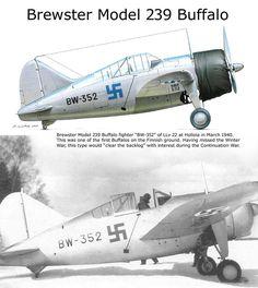 Brewster Model 239 Buffalo Aircraft Propeller, Ww2 Aircraft, Military Aircraft, Luftwaffe, Finland Air, Brewster Buffalo, Finnish Air Force, Navy Aircraft Carrier, Experimental Aircraft