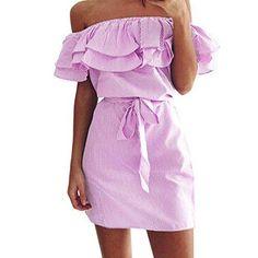 Oferta: 7.85€. Comprar Ofertas de Vestido Amlaiworld Mujeres de hombro vestido de volantes de rayas con cinturón (Tamaño Asiático: XL, Rosa) barato. ¡Mira las ofertas!