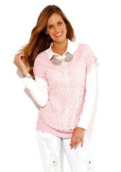 Ažurový pulovr s krátkými rukávy - skvělý třpytivý look  #ModinoCZ