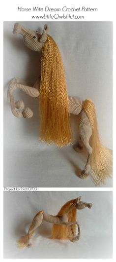 "#Horse crochet project #Amigurumi #toy was #crocheted using #Horse ""White Dream"" #crochet #pattern by #Pertseva for #LittleOwlsHut, #CrochetPattern http://www.ravelry.com/patterns/library/043-horse-white-dream-with-wire-frame-amigurumi-ravelry"