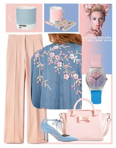 """Pink & Light Blue"" by jojona-1 ❤ liked on Polyvore featuring May28th, Pantone, Aquazzura, women's clothing, women's fashion, women, female, woman, misses and juniors"