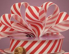 Red and White Candy Cane Striped Grosgrain Ribbon  7/8 Inch