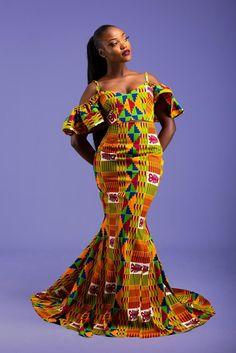 Kente Fishtail Dress Set by hintof-print - Long dresses - Afrikrea African Attire, African Dress, Beautiful African Women, African Beauty, Blue Evening Dresses, Long Dresses, Mode Wax, African Fashion Traditional, Kente Dress